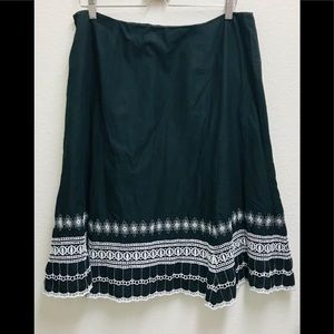 Nine West Black Flower Pattern A-Line Skirt/ 16W